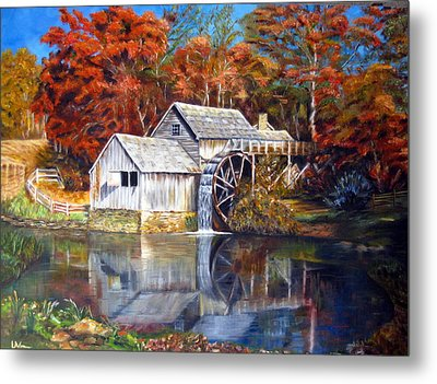 Metal Print featuring the painting Mabry Mill Blue Ridge Virginia by LaVonne Hand