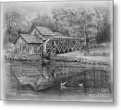 Mabry Mill Pencil Drawing Metal Print by Lena Auxier