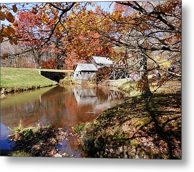 Mabry's Mill In October Metal Print by Angelia Hodges Clay