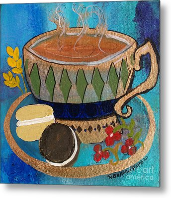 Macaroons And Tea Metal Print by Robin Maria Pedrero