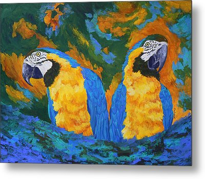 Metal Print featuring the painting Macaw Mates by Margaret Saheed