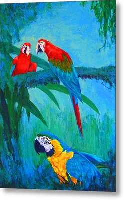 Metal Print featuring the painting Macaw Trio by Margaret Saheed