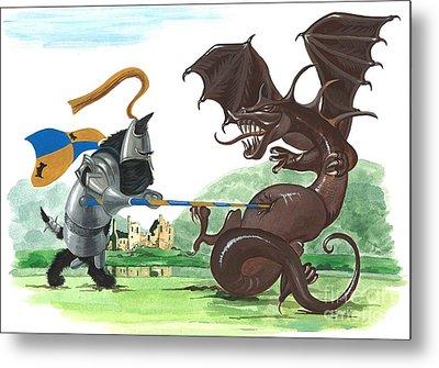 Macduff And The Dragon Metal Print by Margaryta Yermolayeva