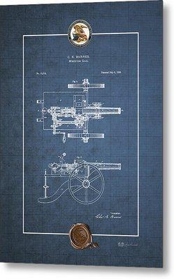 Machine Gun - Automatic Cannon By C.e. Barnes - Vintage Patent Blueprint Metal Print by Serge Averbukh