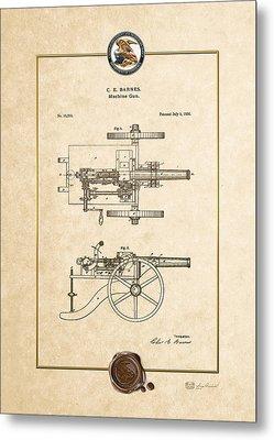 Machine Gun - Automatic Cannon By C.e. Barnes - Vintage Patent Document Metal Print by Serge Averbukh