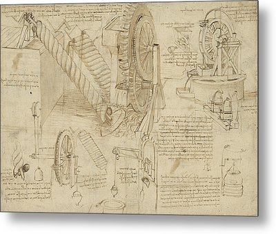 Machines To Lift Water Draw Water From Well And Bring It Into Houses From Atlantic Codex  Metal Print by Leonardo Da Vinci