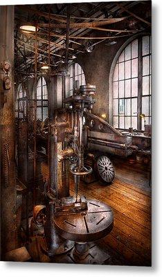 Machinist - Industrial Drill Press  Metal Print by Mike Savad