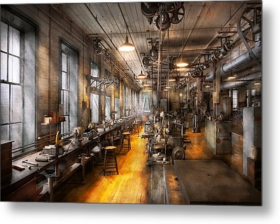 Machinist - Santa's Old Workshop Metal Print by Mike Savad