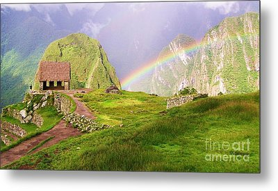 Machu Picchu Rainbow Metal Print by Michele Penner