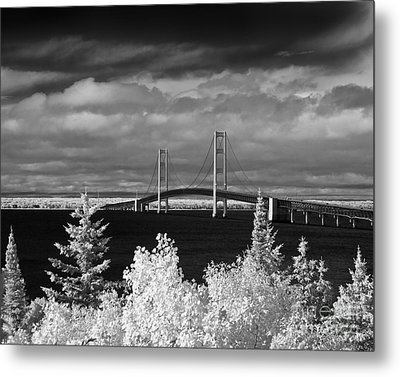 Macinac Bridge - Infrared Metal Print