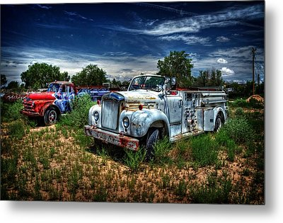 Metal Print featuring the photograph Mack Fire Truck And Graffiti Fire Truck by Ken Smith