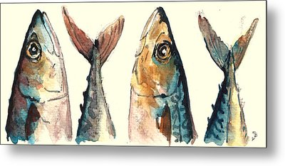 Mackerel Fishes Metal Print by Juan  Bosco
