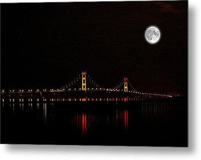 Mackinac Bridge And Moon Metal Print by Randy Pollard