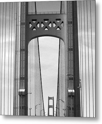 Mackinac Bridge Detail 2 Bw Metal Print