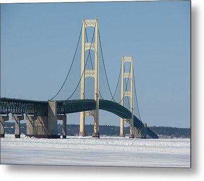 Mackinac Bridge In Winter Metal Print