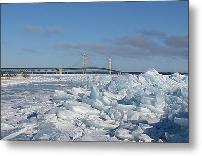 Mackinac Bridge With Ice Windrow Metal Print by Keith Stokes