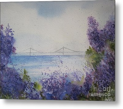 Metal Print featuring the painting Mackinac Island Lilacs by Sandra Strohschein
