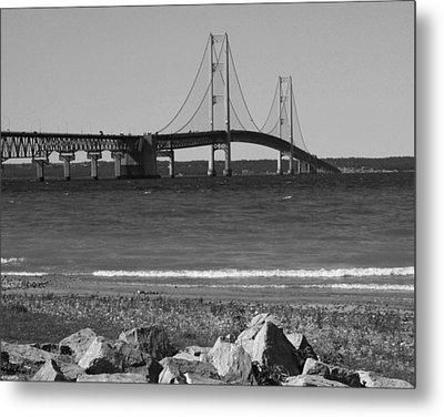 Mackinaw Bridge Black And White Metal Print by Bill Woodstock