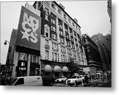 Macys Department Store Broadway Entrance With Yellow Cabs Taxi And Traffic Outside New York City Metal Print by Joe Fox