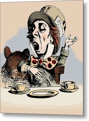 Mad Hatter Color Metal Print by John Tenniel