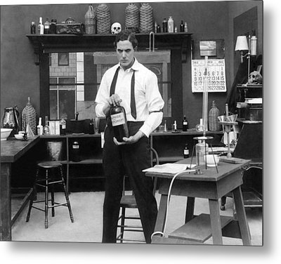 Mad Scientist In His Lab Metal Print by Underwood Archives