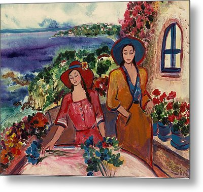 Metal Print featuring the painting Madame And Mademoiselle by Elaine Elliott