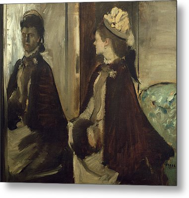 Madame Jeantaud In The Mirror, C.1875 Oil On Canvas Metal Print by Edgar Degas