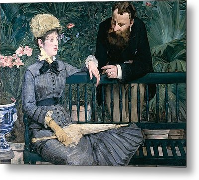 Madame Manet In Greenhouse Metal Print by Edouard Manet