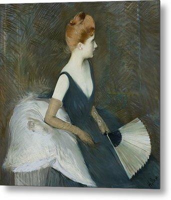 Madame Marthe Letellier Sitting On A Sofa Metal Print by Paul Cesar Helleu
