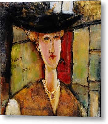 Madame Pompador As A Tribute To Modigliani Metal Print by Jean Cormier