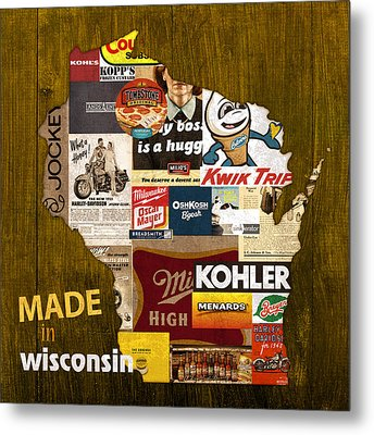 Made In Wisconsin Products Vintage Map On Wood Metal Print by Design Turnpike