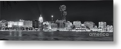 Madison - Wisconsin -  New Years Eve Panorama Black And White Metal Print