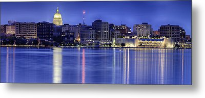 Madison Skyline Reflection Metal Print by Sebastian Musial