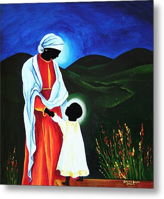Madonna And Child  First Steps Metal Print