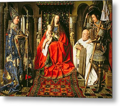 Madonna And Child With Canon Joris Van Der Paele Metal Print by Jna Van Eyck