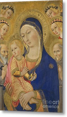 Madonna And Child With Saint Jerome Saint Bernardino And Angels Metal Print