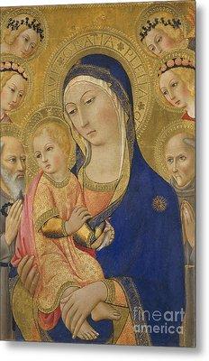 Madonna And Child With Saint Jerome Saint Bernardino And Angels Metal Print by Sano di Pietro