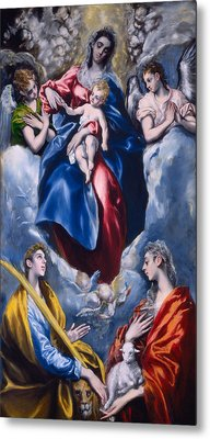 Madonna And Child With Saint Martina And Saint Agnes Metal Print by  El Greco Domenico Theotocopuli