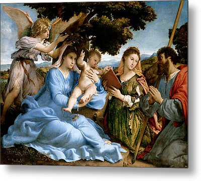 Madonna And Child With Saints Catherine And Thomas Metal Print by Lorenzo Lotto