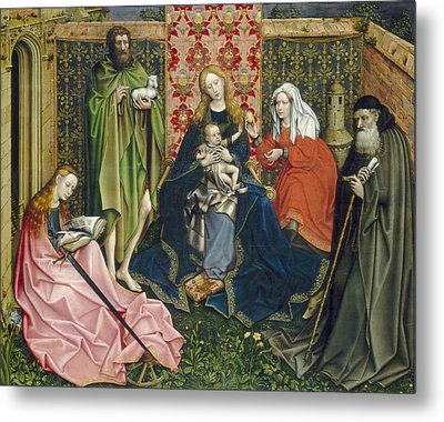 Madonna And Child With Saints In The Enclosed Garden Metal Print by Master of Flemalle