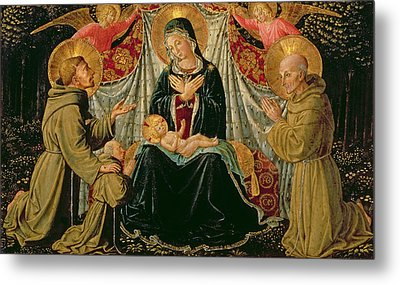 Madonna And Child With St Francis And The Donor Fra Jacopo Da Montefalco Left And St Bernardino Metal Print by Benozzo di Lese di Sandro Gozzoli