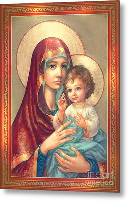Madonna And Sitting Baby Jesus Metal Print by Zorina Baldescu