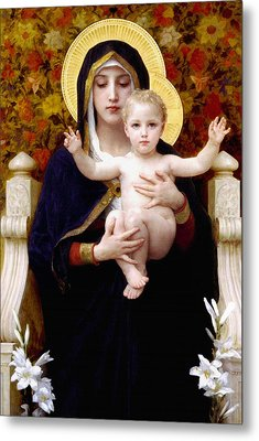 Metal Print featuring the painting Madonna Of Lilies by Bouguereau