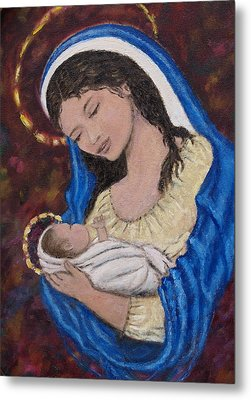 Madonna Of The Burgundy Tapestry - Cropped Metal Print by Kathleen McDermott