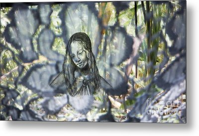 Madonna On Glowing Screen Metal Print by Genevieve Esson