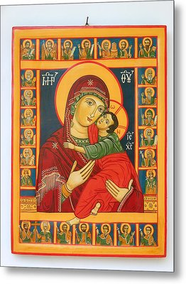 Madonna With Child Jesus Surrounded By Saints Hand Painted Wooden Orthodox Icon Metal Print by Denise Clemenco