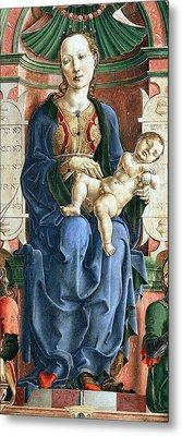 Madonna With The Child Enthroned Detail Metal Print by Cosme Tura