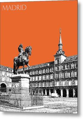 Madrid Skyline Plaza Mayor - Coral Metal Print by DB Artist