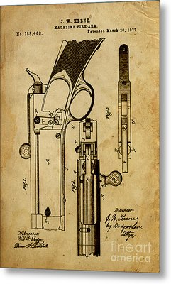 Magazine Fire-arm - Patented On 1877 Metal Print by Pablo Franchi