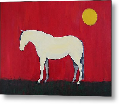 Maggie The Horse In The Moonlight Metal Print